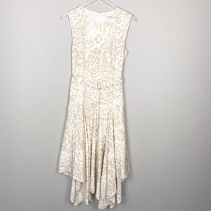 Calvin Klein Dress Tan Cheetah Handkerchief Hem 8